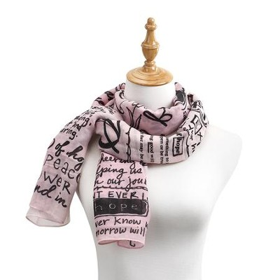 Hope, Poetic Threads Scarf, Pink  -