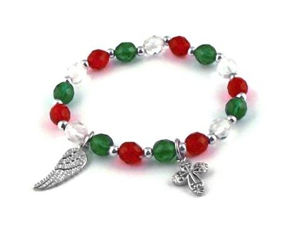 Angel Wing and Cross, Christmas Charm Bracelet  -