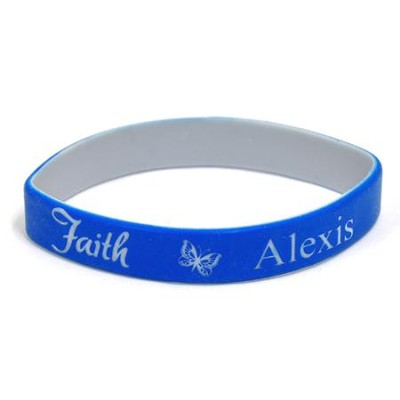 Personalized, Faith Wristband, With Name and Butterfly, Blue  -