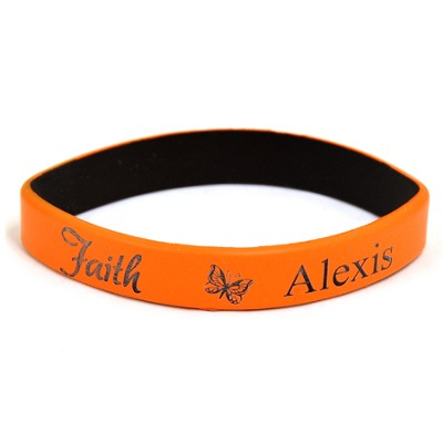 Personalized, Faith Wristband, With Name and Butterfly, Orange  -