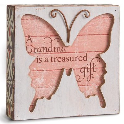 A Grandma Is A Treasure Gift, Butterfly Plaque  -
