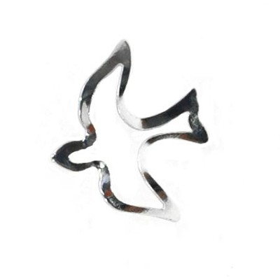 Open Silver Dove Lapel Pin   -