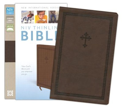 NIV Thinline Bible, Italian Duo-Tone, Chocolate   -