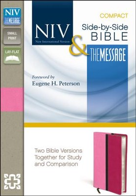 NIV and The Message Side-by-Side Bible, Compact: Two Bible Versions Together for Study and Comparison, Italian Duo-Tone, Pink/Hot Pink - Slightly Imperfect  -     By: Zondervan