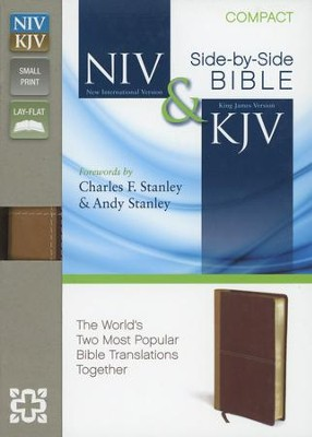 NIV and KJV Side-by-Side Bible, Compact: God's Unchanging Word Across the Centuries, Italian Duo-Tone, Camel/Burgundy  -