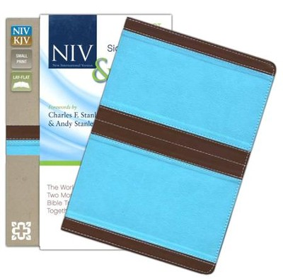NIV and KJV Side-by-Side Bible, Compact: God's Unchanging Word Across the Centuries, Italian Duo-Tone, Chocolate/Turquoise  -