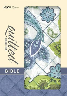 NIV Quilted Collection Bible, Compact, Flexcover, Blue Paisley  -