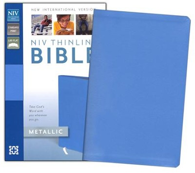 NIV Thinline Metallic Collection Bible, Blue - Imperfectly Imprinted Bibles  -