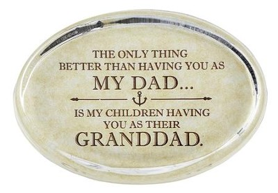 Granddad Glass Oval Paperweight   -