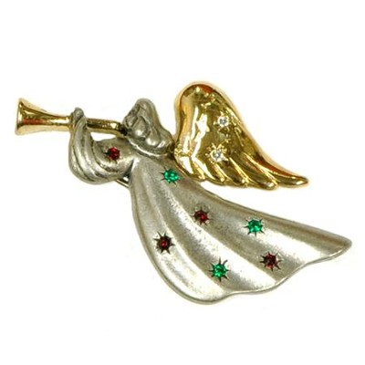 Two Tone Trumpeting Angel Pin  -