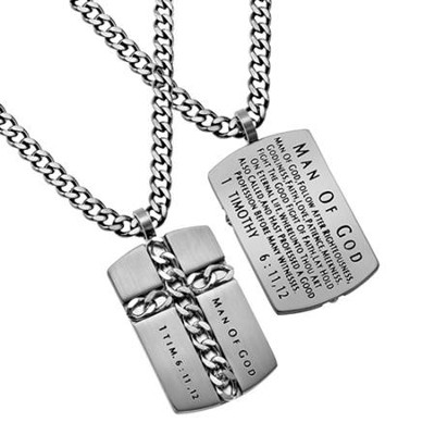 Man of God Chain Cross Necklace, Silver  -