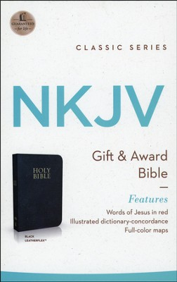 NKJV Gift & Award Bible, Imitation leather, Black  - Slightly Imperfect  -