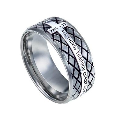 Christ My Strength, Diamond Back Ring Silver, Size 11   -