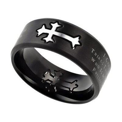 Christ My Strength Neo Cross Scripture Men's Ring, Black, Size 12 (Philippians 4:13)  -