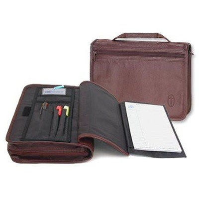 Wordkeeper &#174 New Organizer Bible Cover, Leather, Burgundy, Large  -
