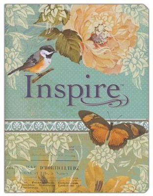 NLT Inspire Bible: The Bible for Creative Journaling, LeatherLike, Silky Vintage Blue/Cream  -     By: Tyndale     Illustrated By: Christian Art