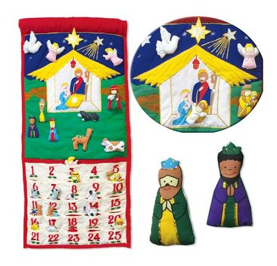 Fabric Nativity Advent Wall Calendar with Pockets   -