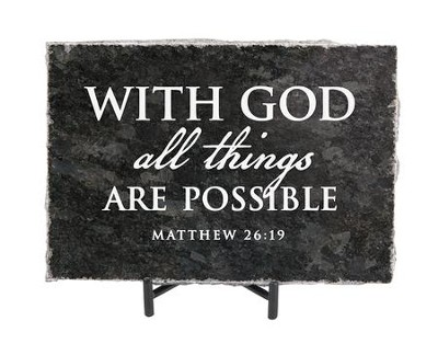 With God All Things Are Possible Granite Plaque, Black  -