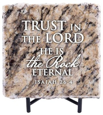 Trust In The Lord He Is the Rock Eternal Granite Plaque, Taupe  -