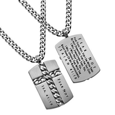 Fear Not Chain Cross Necklace, Silver  -
