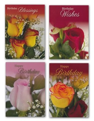 Rose Bouquet Birthday Cars, Box of 12  -