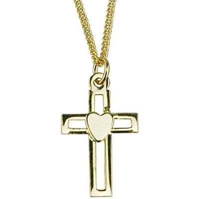Open Cross with Heart Necklace, Gold Filled  -