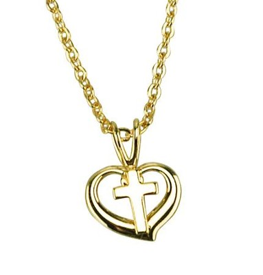 Open Heart with Cross Necklace, Gold Filled  -