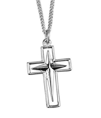 Open Cross with Starburst Cross Necklace, Sterling Silver  -
