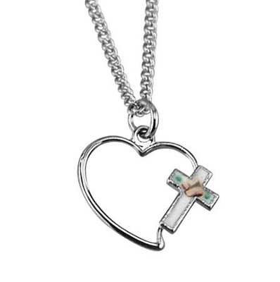 Open Heart with Cloisonne Cross Necklace, Sterling Silver   -