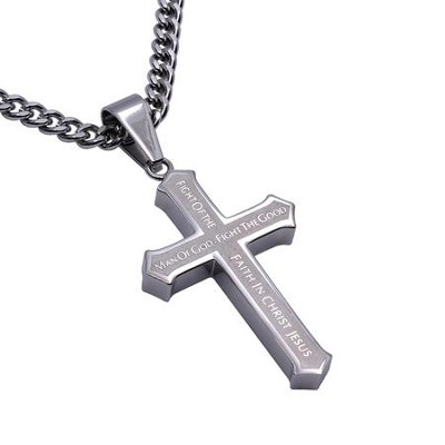 Man of God Inlay Cross Necklace  -