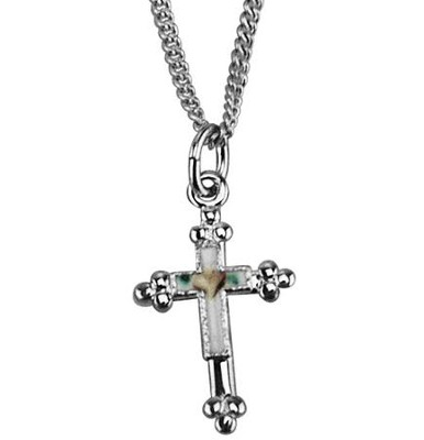 Budded Cross with Cloisonne Necklace, Sterling         -