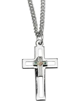 Open Cross with Cloisonne, Necklace Sterling   -