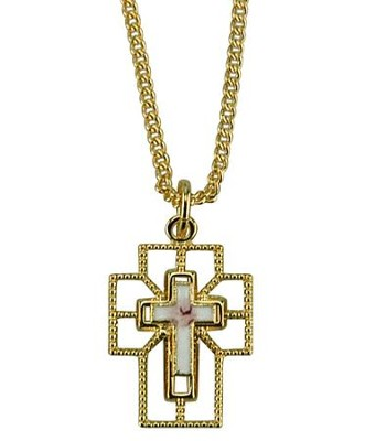 Open Cross with Cloisonne  Necklace, Gold Filled   -