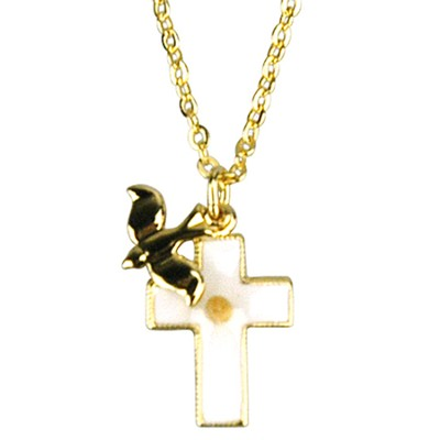 Mustard Seed Cross with Descending Dove Necklace, Gold Filled  -