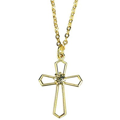 Open Cross with Crystal Necklace, Gold Filled  -