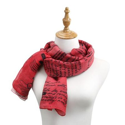 Love, Poetic Threads Scarf, Red  -