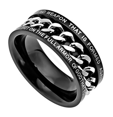 No Weapon Chain Ring , Size 10 (Isaiah 41:10)  -