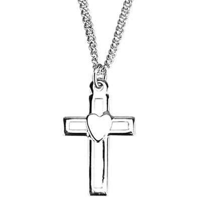 Open Cross with Heart Necklace, Sterling Silver  -