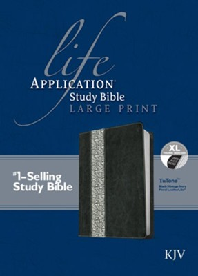 KJV Life Application Study Bible, Large Print Black/Vintage Ivory Floral Indexed Leatherlike  -