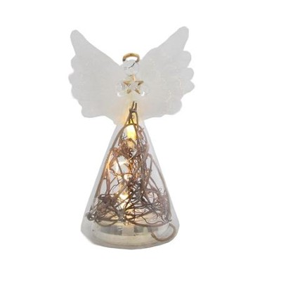 Light Up Glass Angel Holding Star Ornament with Branches  -
