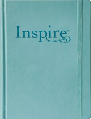 NLT Inspire Large Print Bible for Creative Journaling Hardcover Tranquil Blue Leatherlike  -