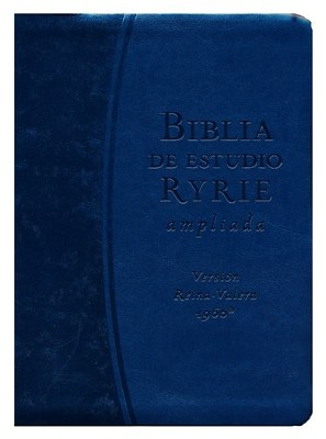RVR Biblia de Estudio Ryrie Cuero-Mira, Azul Indexado RVR New Ryrie Study Bible leather-look, blue indexed  -     By: Charles Ryrie