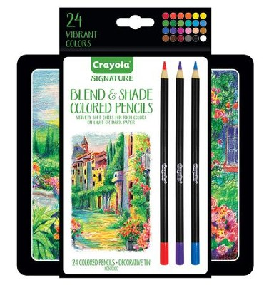 Crayola, Blend & Shade Colored Pencils with Tin, 24 Pieces  -