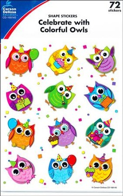 Celebrate with Colorful Owls Shape Stickers   -