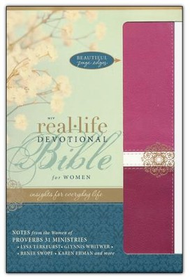NIV Real-Life Devotional Bible for Women: Insights for Everyday Life, Italian Duo-Tone, Raspberry/Razzleberry  -     By: Lysa TerKeurst