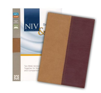 NIV/Amplified Side-By-Side Bible--soft leather-look, camel/burgundy  -