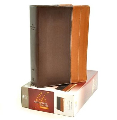 NIV Life Application Study Bible, Large Print, Chocolate/Tan, Indexed  -