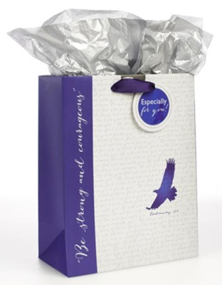 Be Strong and Courageous, Blue Gift Bag  -