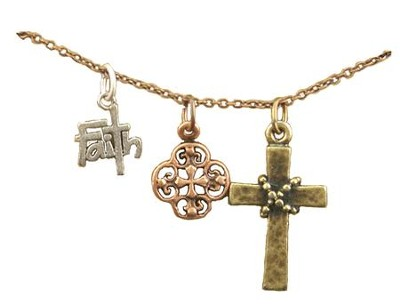 Faith, Filigree Cross, Wrapped Cross, Tri-Tone Necklace  -
