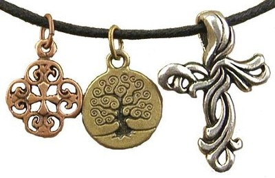 Filigree Cross, Tree of Life, Fancy Cross, Tri-Tone Necklace  -